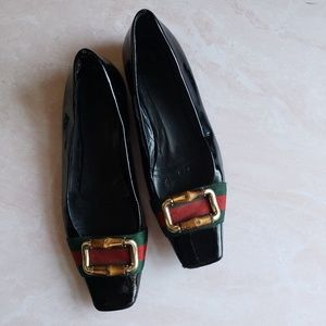 Gucci Web Bamboo gold-tone buckle patent loafer
